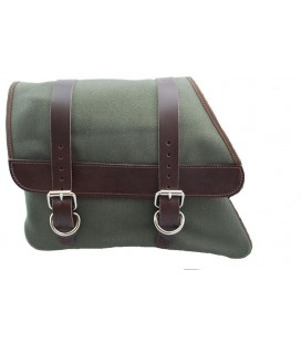 Canvas Left Side Saddle Bag - Army Green with Brown Straps