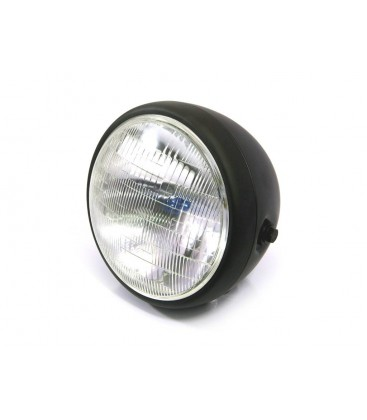 "7.5"" STEEL CAFE RACER MATTE BLACK HEADLIGHT"