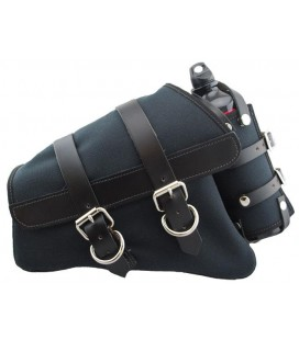 Canvas Left Side Saddle Bag with Fuel Bottle - Black with Black Leather Accents
