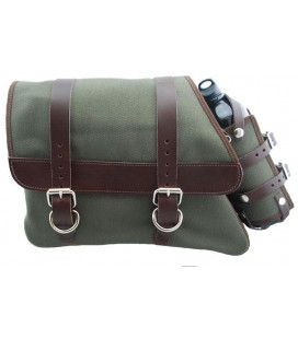 Canvas Left Side Saddle Bag with Fuel Bottle - Army Green with Brown Straps